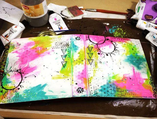 by DeeDee Catron: DLP - Artsy Planner cover using UmWowStudio, Dina Wakley, Viva Las VegaStamps!