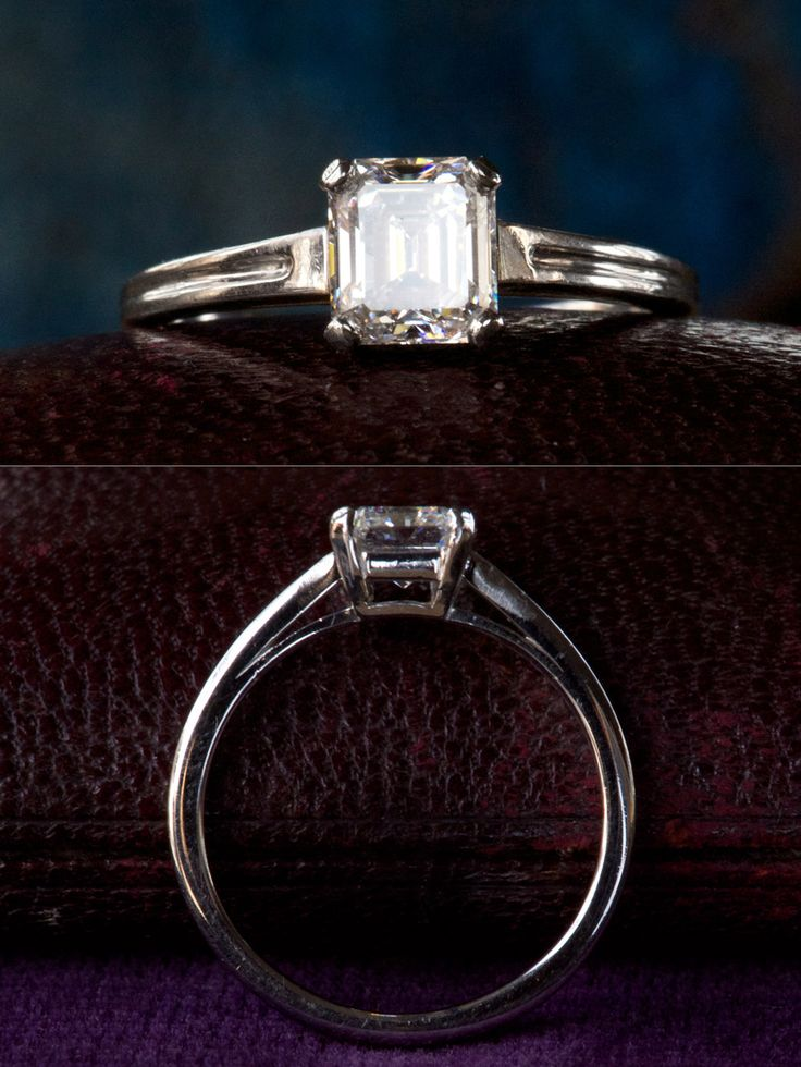 1930-40s Tiffany & Co. Art Deco 0.88ct Emerald Cut Diamond Engagement Ring