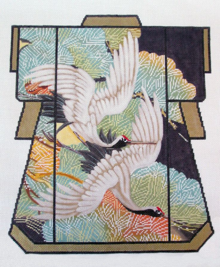 Elegant Lani Two Oriental Cranes Large Kimono Handpainted Needlepoint Canvas | eBay
