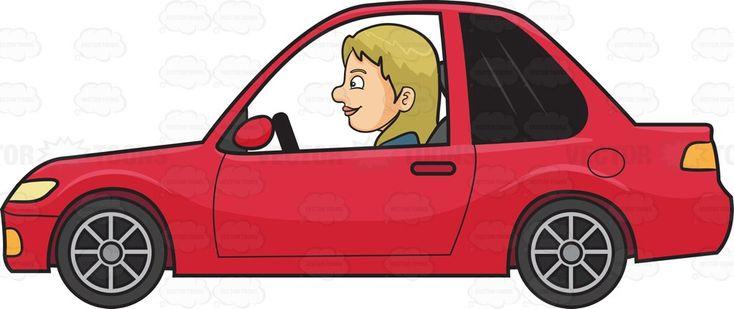 A woman driving a red car #cartoon #clipart #vector #vectortoons #stockimage #stockart #art