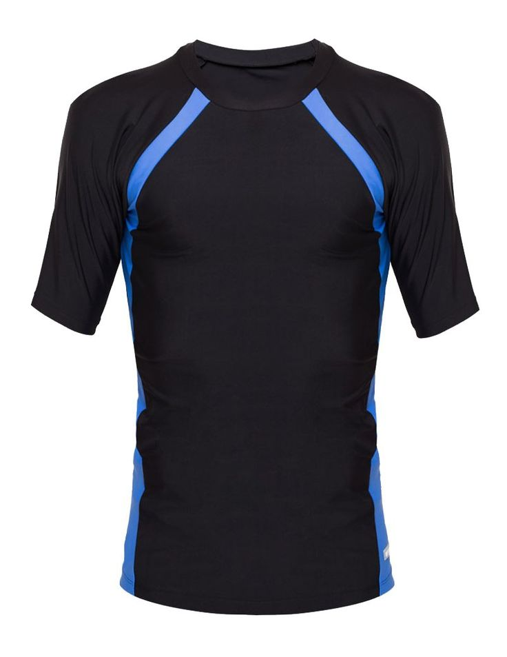Swimwear Top design by Neo Wave. Swimwear top with black color, blue strip  , made from nylon and lycra fabric. Round neck, short sleeve, slim fit, a simple swimwear top for man, with Neo wave logo. http://www.zocko.com/z/JHh3k