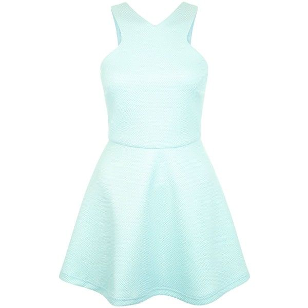 Teens Mint Green Bonded Mesh And Scuba Skater Dress ❤ liked on Polyvore featuring dresses, dresses short, vestidos, skater dresses, green color dress, mint green short dress, mint skater dress and green dress