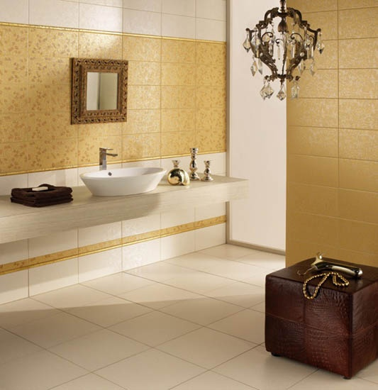 modern wall tiles for bathroom decorating in brown and golden colors