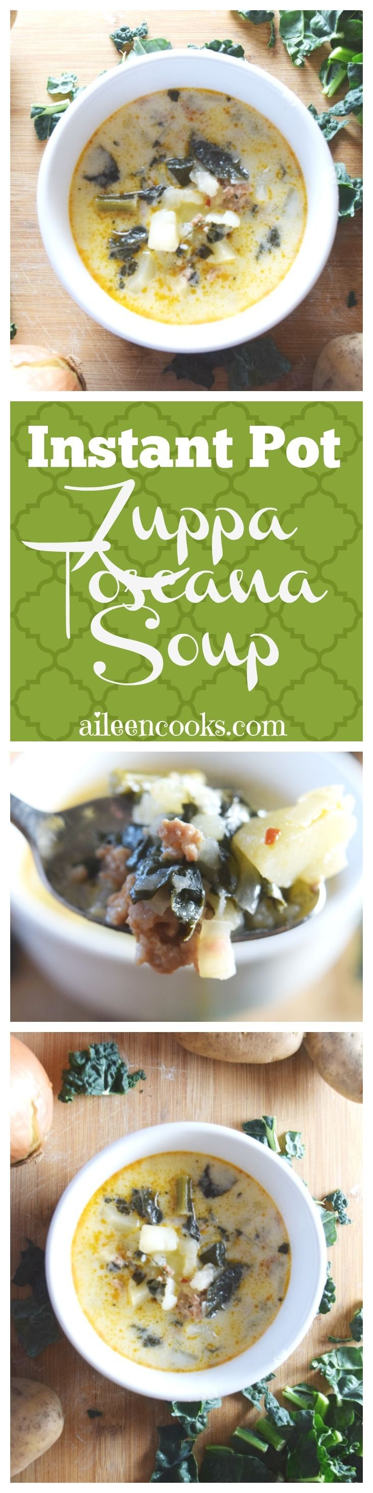 Make this delicious and hearty instant pot zuppa toscana soup at home! This recipe makes a large batch that tastes wonderful the next day. It's filled with hot Italian sausage, kale, hearty potatoes, garlic, and onion.This recipe includes slow cooker instructions, too! via @aileencooks