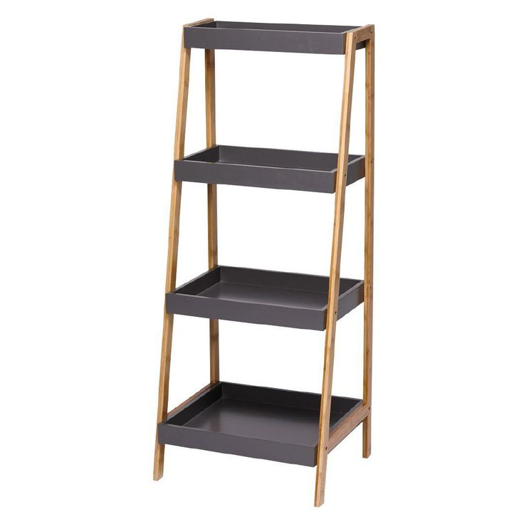 Sort It Bamboo 4 Tier A Frame Shelf Charcoal $70