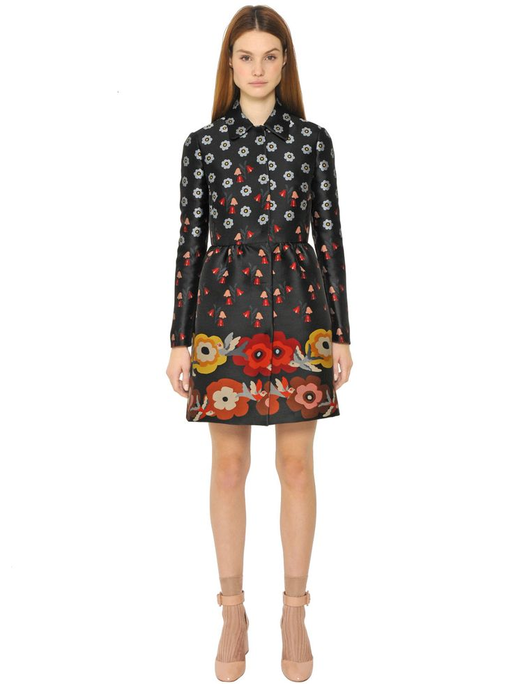 RED VALENTINO FLORAL TECHNO JACQUARD COAT BLACK/MULTI WOMEN CLOTHING COATS [w64I-P25002-ME5P0]