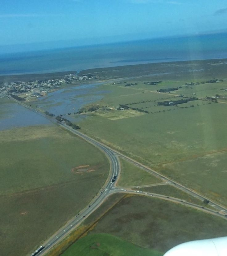 Floodwaters near Port Wakefield. Highway 1 was closed