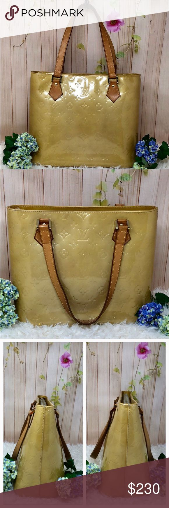 """Authentic Louis Vuitton Vernis Houston Bag The outer canvas is in good condition but there are scratches in the bottom ( pic 8th). Leather trims and handles is good condition. Hardware gold color is good, small pocket and inside the bag is nice and clean. Zipper smooth work. The bag was made in France with date code TH 0070. The dimension 12"""", 9"""", 5.5"""". No trade please Louis Vuitton Bags Totes"""