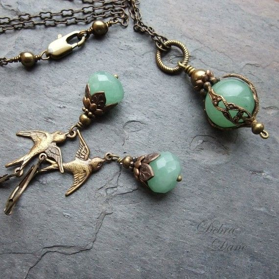 Green Aventurine Necklace Safe Traveller Pendant Moss by DebraDane
