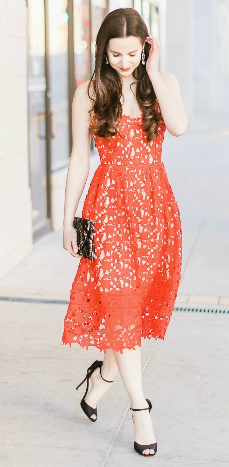 Cute Valentine's Day dress under $50 | Cute Galentine's Day outfit ideas | Dressy Valentine's Day outfit idea | Shein red lace fit and flare dress with Nina black bow ankle pumps and Jessica McClintock black lace envelope clutch | How to enjoy Valentine's Day as a single gal by fashion blogger Stephanie Ziajka from Diary of a Debutante