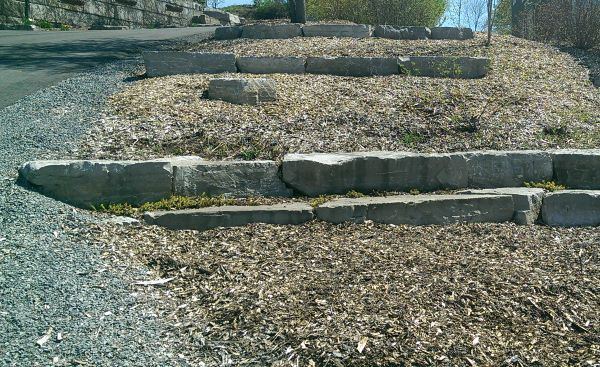 Landscaping a slope doesn't have to be complicated. This very simple idea of large rock retainers and mulch is affordable and practical. It can also be expanded on at any time.