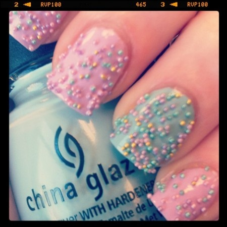 """Bethany Justice's nails remind us of cotton candy. We love the look. Get inspired by her nail designs by looking at her web site.    HelloGiggles loves seeing your creative nail designs. From glitter and lace to cartoon and holiday homages, we appreciate a bomb manicure when we see it. Send a photo of your fancy fingertips to info@hellogiggles.com with the subject line """"Nails of the Day"""" and we'll feature you here!Nails Trends, Cotton Candy, Nails Art, Caviar Nails, Sprinkles Nails, Spring Nails, Cotton Candies, Candies Nails, Nail Art"""