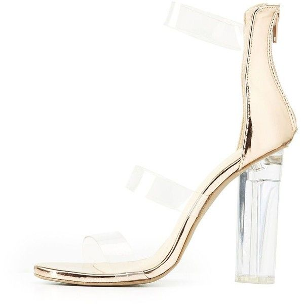 7706bfa71b0 Charlotte Russe Three-Piece Clear Heel Sandals ( 27) ❤ liked on Polyvore  featuring