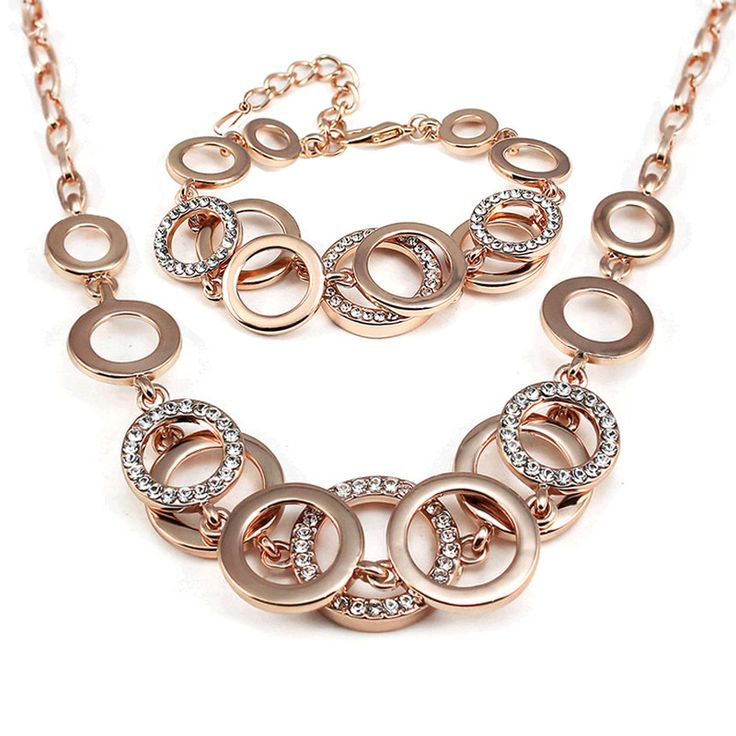 Luxurious Bridal jewellery sets female Rose gold-plated Vintage set For Women Wedding Silver Circle Jewelry sets of african