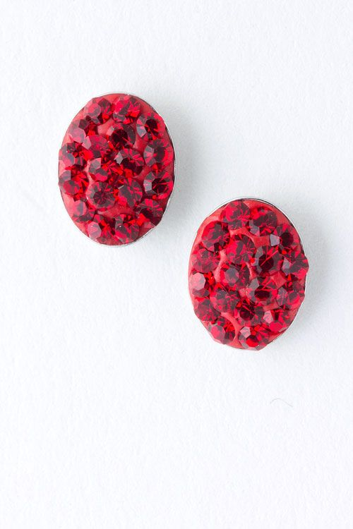 Tiny Crystal Ruby Earrings on Emma Stine Limited