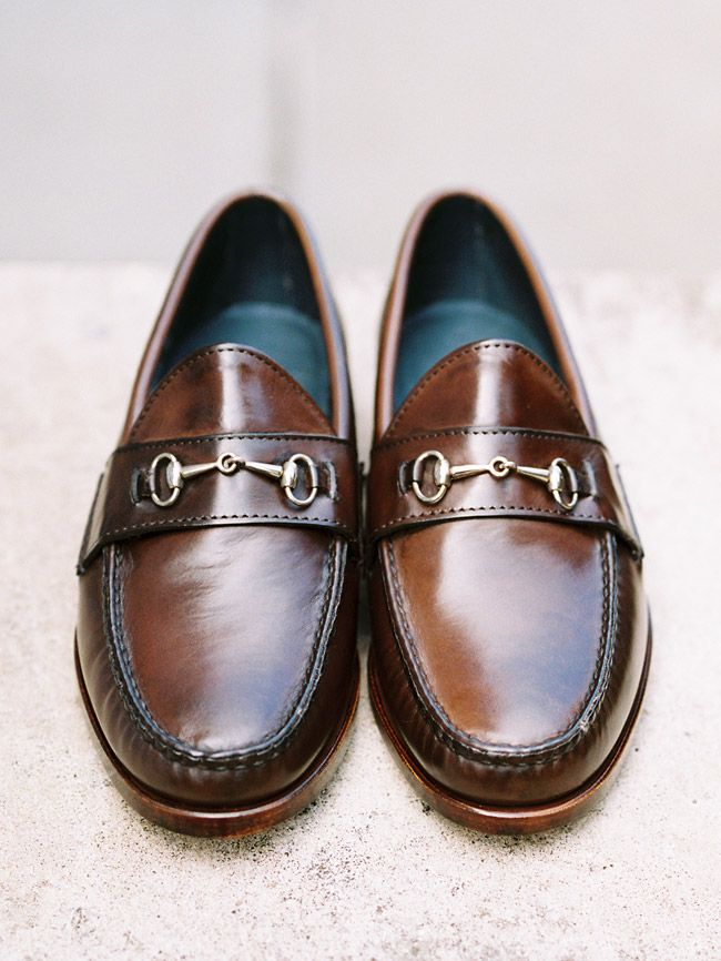 Rancourt Bit Loafer in dark brown calfskin. Single oak leather outsoles. via Harrison Limited