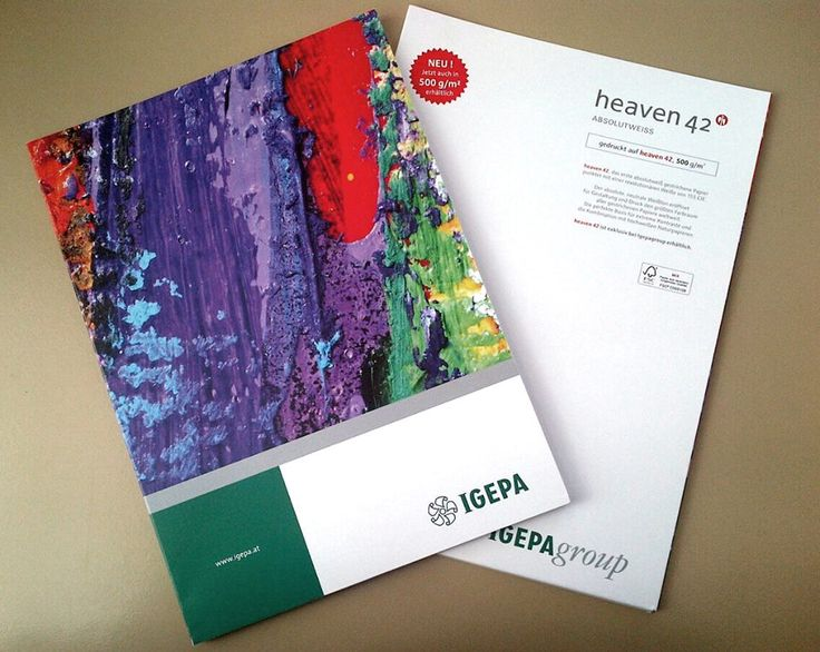 Absolute white greetings from Austria: Igepa Austria's new sample folder – printed on heaven 42's new grammage 500 gsm.