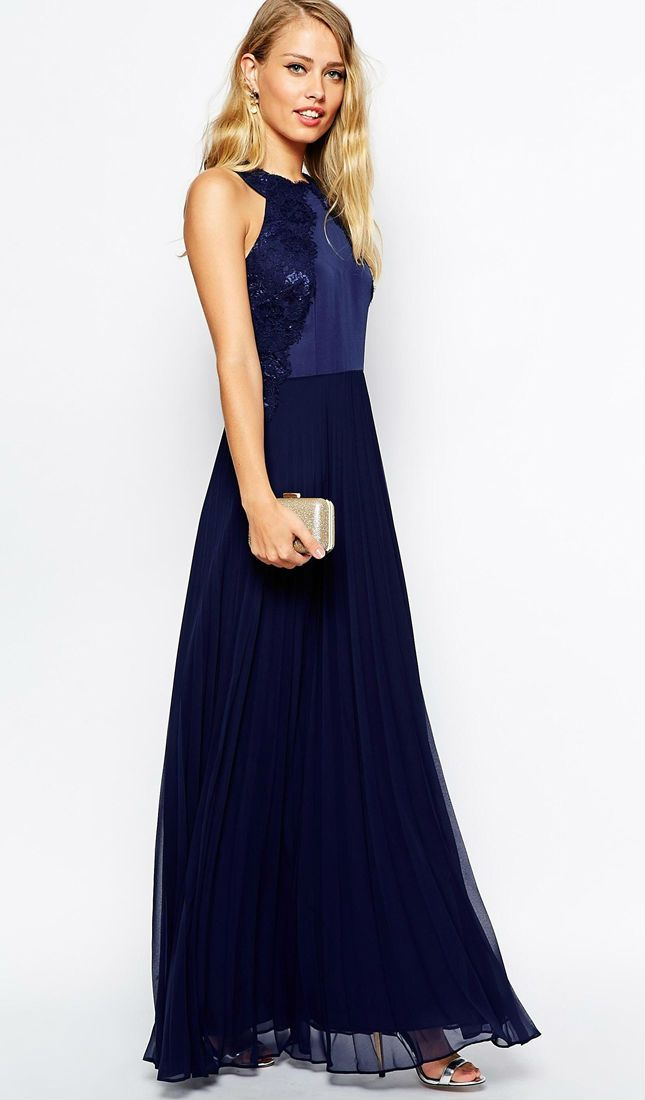 Blue Lace Edged Maxi Dress Beautiful Wedding Guest Dress