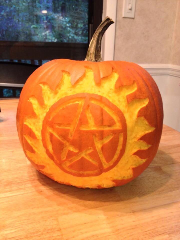 Supernatural tv series inspired pumpkin carving by angela