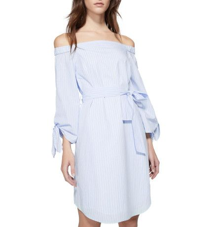 Blue and white stripe off the shoulder long sleeve dress with tie waist - Witchery for summer christmas