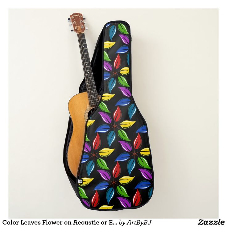 Color Leaves Flower on Acoustic or Electric Guitar Case  - A Wonderful Christmas Present for ANY Guitar Player - order it as an Electric Guitar Case or an Acoustic Guitar Case.  Visit to See LOTS MORE!