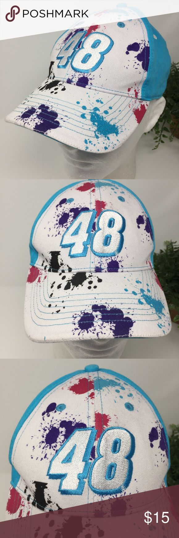 """Jimmie Johnson 48 NASCAR Hat Chase Authentics This listing is for a Jimmie Johnson 48 NASCAR Baseball Hat Chase Authentics OS  This is a pre-owned hat that has the name """"Colby"""" written on the inside strap. I did not try to remove the name for fear of fading the hat.  Comes from a smoke free and pet free environment. Hat will be shipped in a box to prevent it from from getting crushed. Chase Authentics Accessories Hats"""