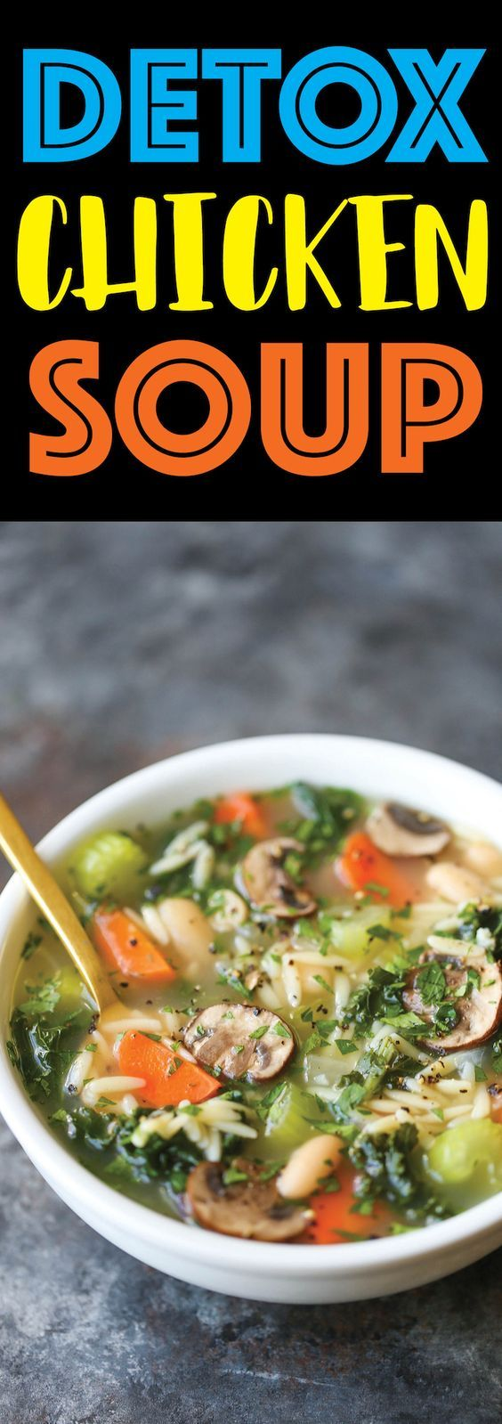 Detox Chicken Soup - Cleansing, immune-boosting soup packed with all the good stuff (kale, mushrooms, celery, carrots, etc.) without compromising any taste!