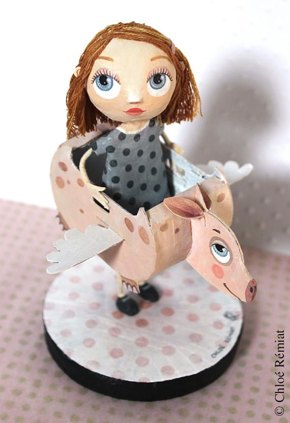 Escultura cerdo volador muñeca OOAK