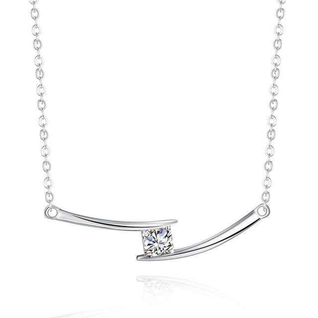 JEXXI Свадебные Элегантный Ювелирные Изделия 925 Серебряный Крест Цепи Квадратной Формы Кристалл Кулон Ожерелье Для Женщин