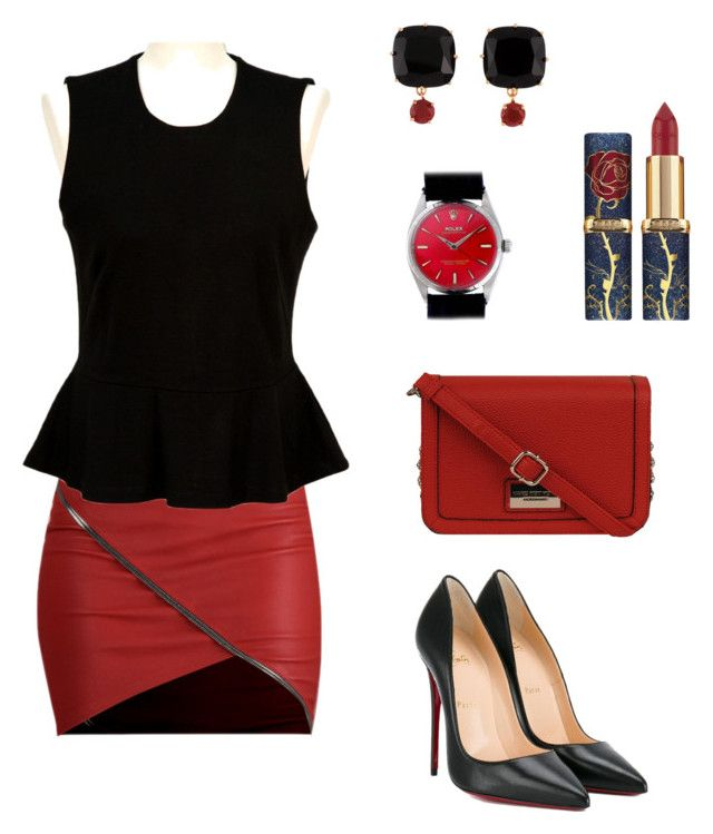 """""""rouge et noir"""" by carlotta-longhitano on Polyvore featuring French Connection, Christian Louboutin, Andrew Marc, Les Néréides and Rolex"""