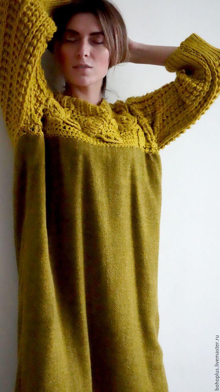 Handmade Yellow Woolen Acryl Dress-Tunik