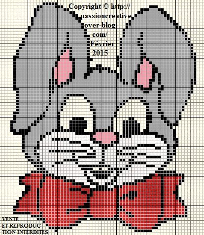 Grille gratuite point de croix lapin noeud rouge le - Blog broderie point de croix grilles gratuites ...