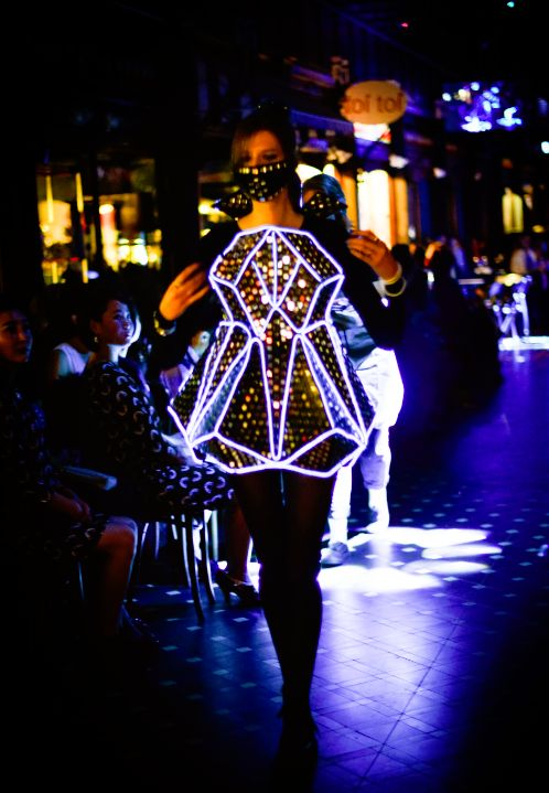Light Up Dress: Geometric Reflection (EL wire, recycled cardboard) Canterbury Fashion Week 2015 Brittany Glassey