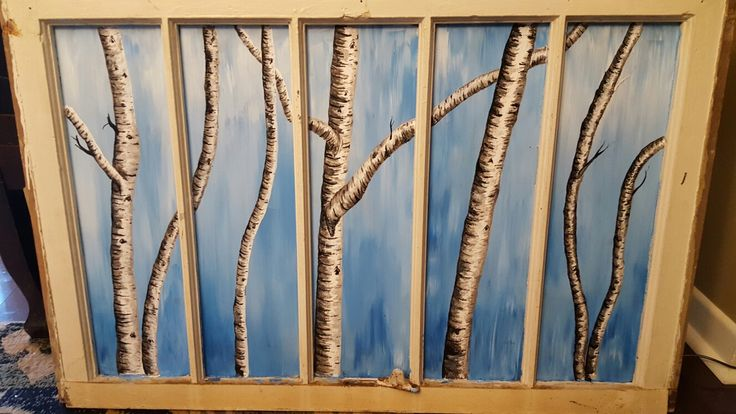 White birch trees painting.  My first project on an old window.