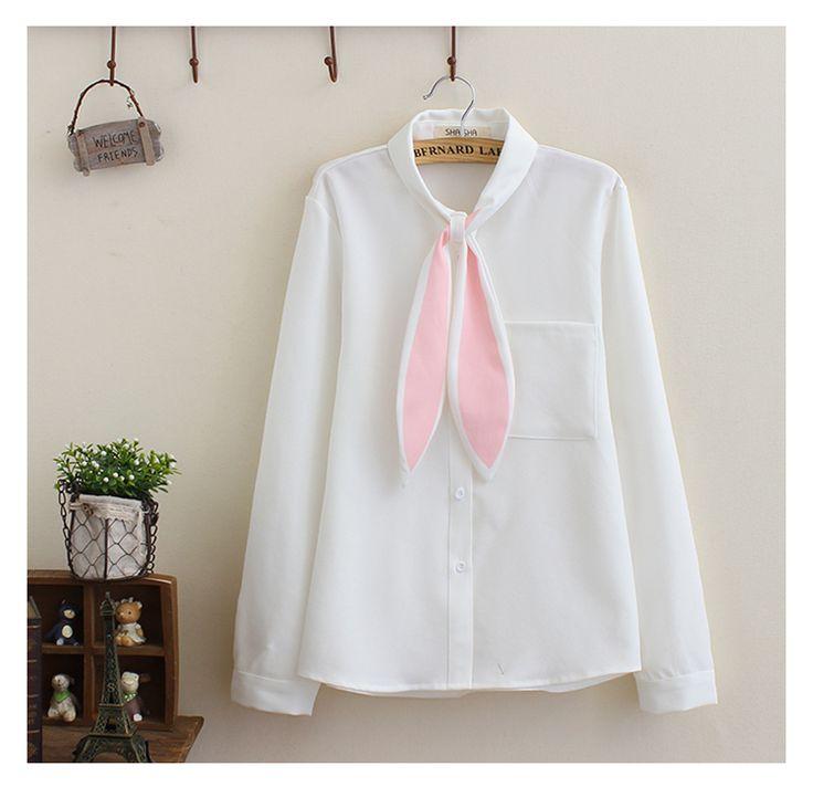 White Shirt With Rabbit Ear (B0069)   #caterpillar #barnard #lafond #bernardlafond #cottage glaze #groove #moda #shop #shopping #blouse #womenblouse #girlsblouse #shop