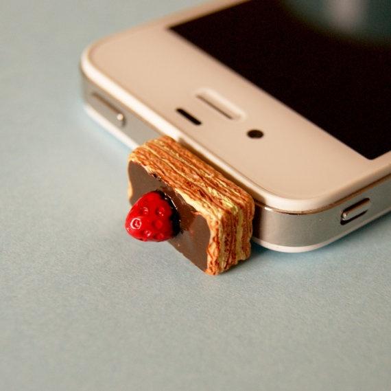 Latest iphone fashion!  Cake Slice iPhone Headphone Jack Plug by JeliPhish on Etsy, £1.50