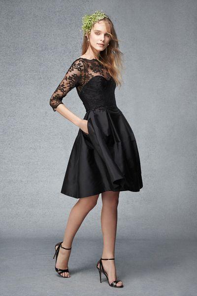 Black Short Taffeta Dress with Full Skirt and Lace Bodice