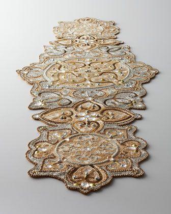 """Kim Seybert """"Baroque"""" Beaded Table Runner - Neiman Marcus - only $500 - I'll take two please ;)"""