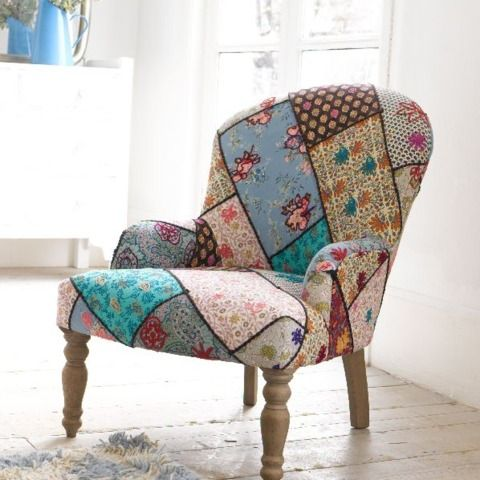 LUCKY. The gorgeous fabric is dyed, woven and embroidered in Rajasthan especially for us. It is then sent to Nottingham where our upholstery chaps turn it into one of the nicest and most comfy little chairs we've ever sat on.