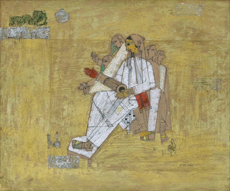 Jeram Patel Medium: Acrylic and sketch pen on cardboard pasted on ply board Year: c. 1950s Size: 24.7 x 29.7 in.