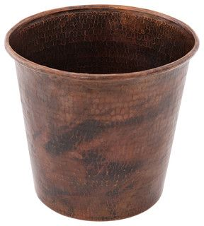 Hand Hammered Copper Waste Bin / Trash Can - Rustic - Waste Baskets - by Lucido Luxe