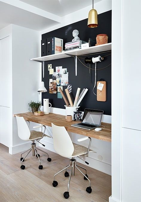 Workspace with black wall