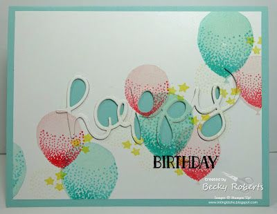 What's a birthday without balloons?  Here are some cheery balloons and stars floating across the front of this card.  Cardstock:  Pool Party, Whisper White, Coaster BoardStamp Sets:  Balloon Celebrati