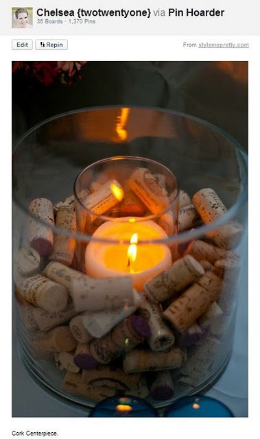 cute idea for the wine corks. Would be cute to write the dates on them when you drink them, or save all the corks from your wedidng for a keepsake!