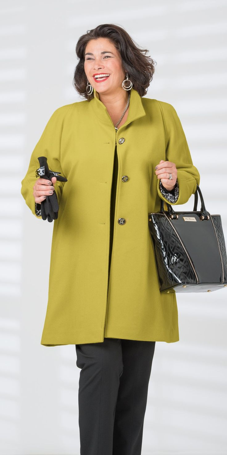 """Lime wool and cashmere funnel neck coat: Funnel neck button through coat with small split at back and pockets, centre back 38"""" approx. 70% wool 10% cashmere 20% polyamide, washable, £190 