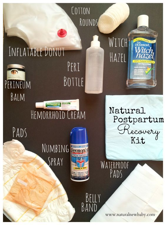 My Natural Postpartum Recovery Kit-- postpartum must-haves for physical healing after giving birth, with everything (even the embarrassing stuff) you'll need for a smooth recovery. Click the photo to get all the details, including a few items that aren't pictured. #naturalnewbaby #postpartum #baby:
