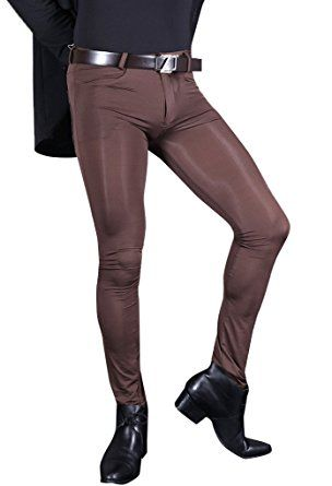 7f33813a16c21 LinvMe Men's Sexy Sheer Pants Footed Legging Tight Ice Silk Trousers XL  Coffee