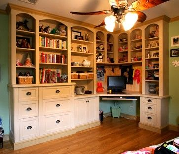 This was designed for a child but it could be so great for a general home office.  Love the corner desk and built in book cases/drawers.