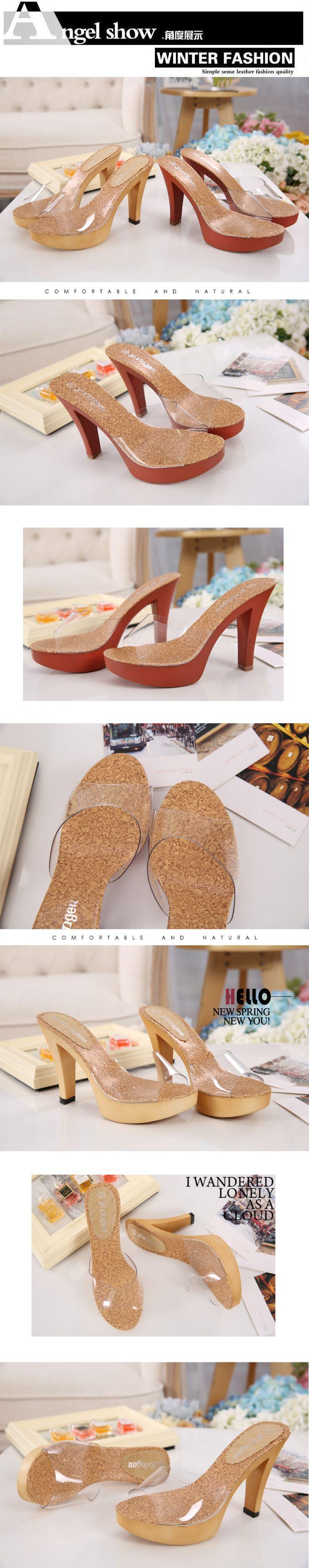 Aliexpress.com: Comprar 2016 moda primavera y el verano gruesa plataforma de talón abierto zapatos de mujer estilo transparente sexy zapatos cristalinos de la mujer sandalias de sandalias de marfil confiables proveedores de Exclusive your shoe.