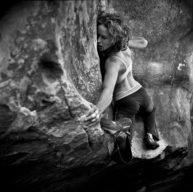 Tilly Parkins climbs Palm Beach, Hollow Mountain Cave, the Grampians, Australia.  Photo: Adam Pretty